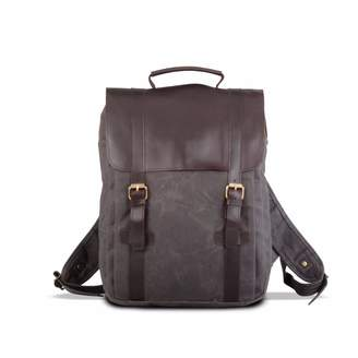 EAZO - Waxed Canvas and Leather Backpack in Grey