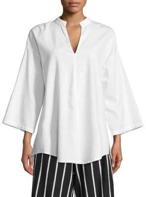 Eileen Fisher Organic Cotton Twill Collared Blouse