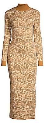Victor Glemaud Women's Long Sleeve Zebra Knit Turtleneck Dress