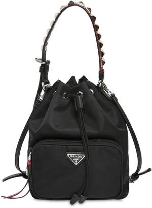 Prada New Vela Nylon Bucket Bag W/ Studs