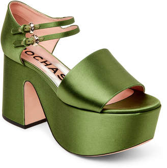Rochas Green Satin Platform Sandals