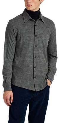Brioni Men's Wool-Cashmere Piqué Long-Sleeve Polo Shirt - Gray