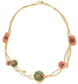Aurelie Bidermann Athina Gold Plated Floral Necklace - Womens - Pink