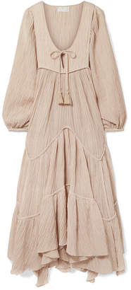 Zimmermann Bayou Crinkled Ramie And Cotton-blend Midi Dress - Beige