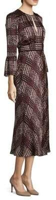 LK Bennett Silk Bell-Sleeve Midi Dress