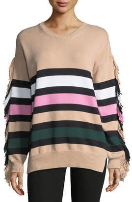 No.21 No. 21 Crewneck Striped Knit Sweater with Fringed Trim