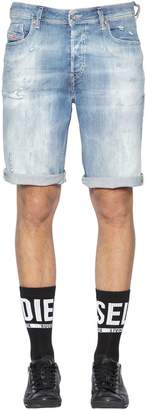 Diesel Loose Fit Washed Stretch Denim Shorts