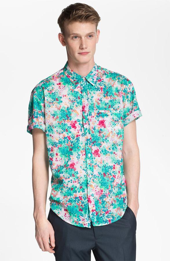 Topman Floral Print Woven Shirt