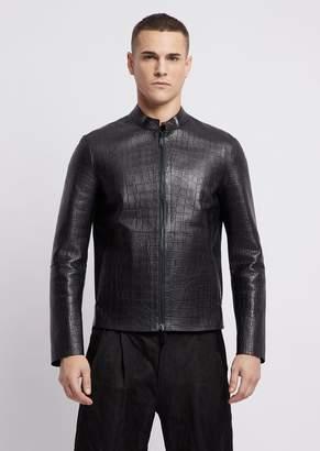 Emporio Armani Biker Jacket In Bonded Nappa Leather With Heat-Sealed Crocodile Design