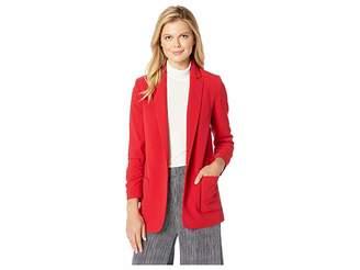 Tahari ASL Bi-Stretch Open Jacket with Ruched Sleeve Women's Coat