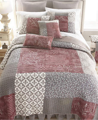 American Heritage Textiles Fleur De Lis Square 3 Piece Cotton Quilt Set Full Queen Bedding