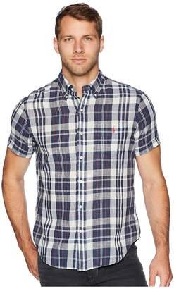 Polo Ralph Lauren Indigo Chambray Short Sleeve Pocket Button Down Sport Shirt Men's Clothing