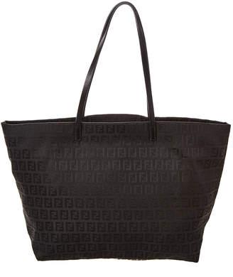 Fendi Black Zucchino Canvas Roll Bag