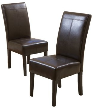 Noble House Roland Chocolate Brown Leather Dining Chairs (Set of 2)