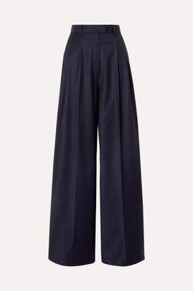 Paul & Joe Pleated Wool-blend Wide-leg Pants - Navy