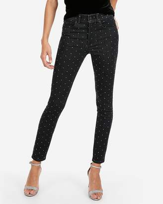 Express Mid Rise Rhinestone Studded Ankle Leggings