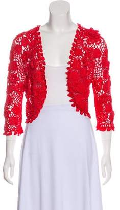 Oscar de la Renta Silk Crocheted Cardigan