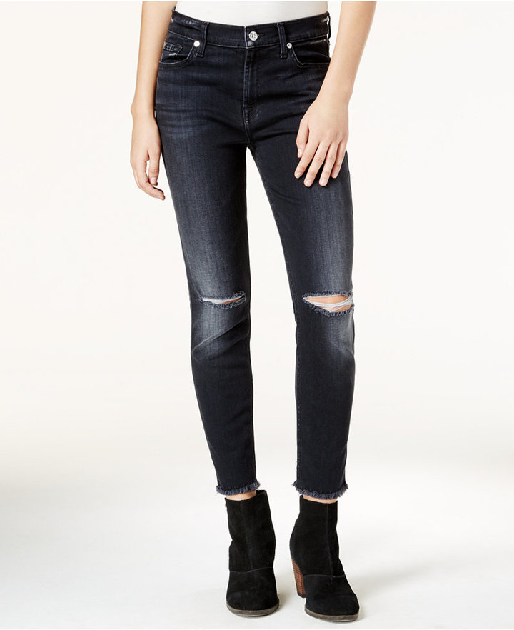 7 For All Mankind7 For All Mankind Ripped High-Waist Ashford Black Wash Skinny Jeans