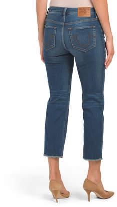 Rigid High Rise Chewed Hem Crop Straight Jeans