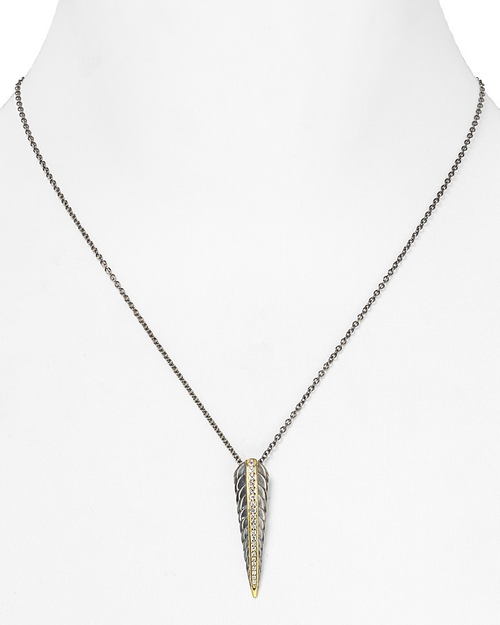 Elizabeth and James Sterling Silver and Sapphire Feather Pendant Necklace, 18