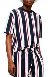 Topman Stripe Short Sleeve Velour Sweatshirt
