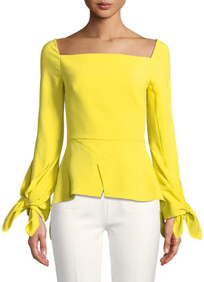 Roland Mouret Square-Neck Long-Sleeve Peplum Top w/ Tie Cuffs
