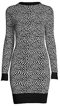 Victor Glemaud Women's Backless Zebra Sweater Dress