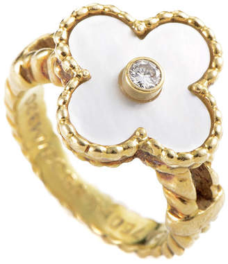 Heritage Van Cleef & Arpels 18K Yellow Gold, Mother-Of-Pearl & Pearl Ring