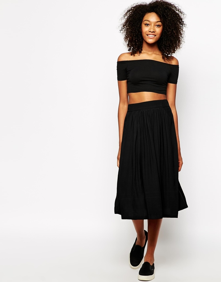 Monki Midi Skirt With Pockets