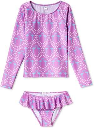Stella Cove Flamingo Print Two-Piece Rashguard Swimsuit