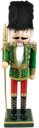 Northlight 14In Decorative Wooden Green Red & Gold Christmas Nutcracker Soldier With Spear
