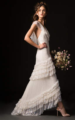 Temperley London Bridal Mimi Gown with Long Sleeve Lace Overlay