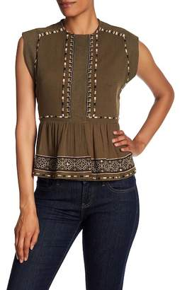 French Connection Adanna Embroidered Crinkle Tank