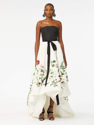 Oscar de la Renta Botanical Garden Embroidered Silk-Faille Gown