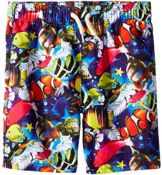 Appaman Kids Allover Fish and Reef Print Mid Length Swim Trunks Boy's Swimwear