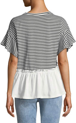 Nicole Miller New York Striped Ruffle Short-Sleeve Tee