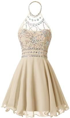 Oumans Women's Halter Beaded Homecoming Dress Short Prom Dress Open Back us