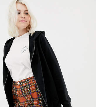 Asos DESIGN Curve zip through hoodie in black