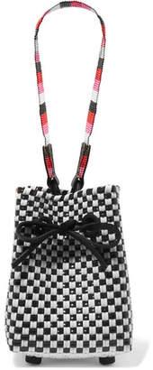Truss - Party Mini Woven Raffia-effect Wristlet Bag - Black