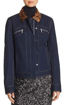 Lafayette 148 New York Kesha Leopard-Collar Denim Jacket