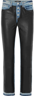 Amiri Paneled Leather And Denim High-rise Straight-leg Jeans - Black