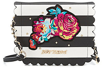 Betsey Johnson Many Blooms Striped Flower-Appliqued Scalloped Cross-Body Bag $78 thestylecure.com