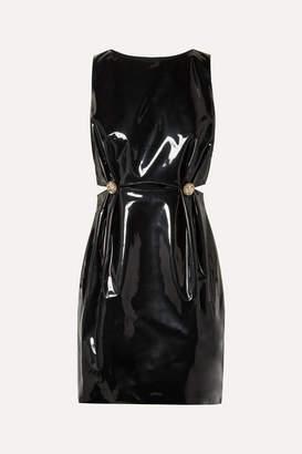 Versace Embellished Cutout Vinyl Mini Dress - Black
