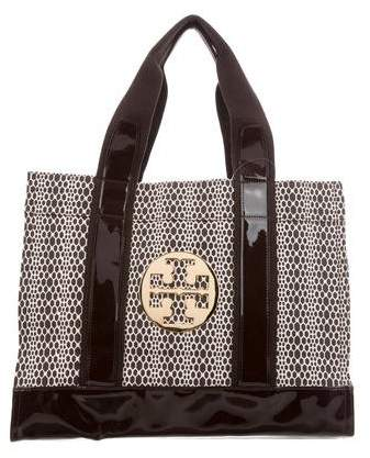 Tory Burch Leather-Trimmed Printed Tote - BROWN - STYLE