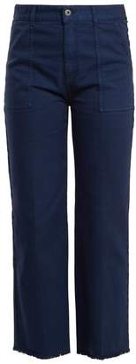 Stella McCartney Frayed Hem Straight Leg Jeans - Womens - Dark Blue
