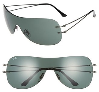 Women's Ray-Ban 60Mm Shield Sunglasses - Dark Gunmetal $170 thestylecure.com