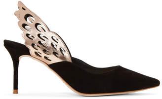 Sophia Webster Black Suede Angelo Mid Slingback Heels
