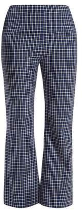 Marni Checked Kick Flared Wool Trousers - Womens - Blue Multi