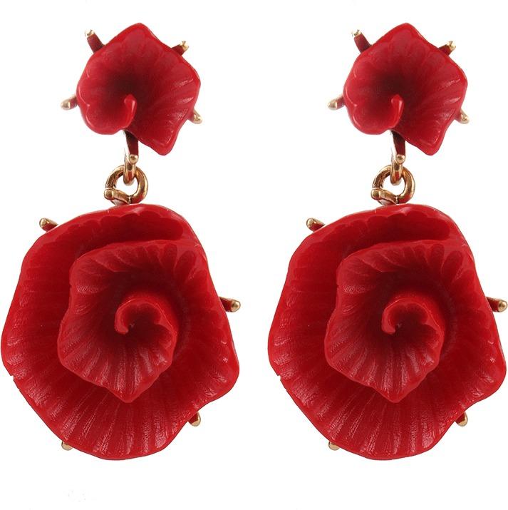 Oscar de la Renta Resin Flower Clip Earrings