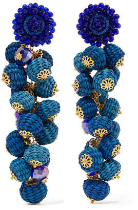 Bibi Marini - Cluster Bead, Silk And Gold-tone Earrings - Blue